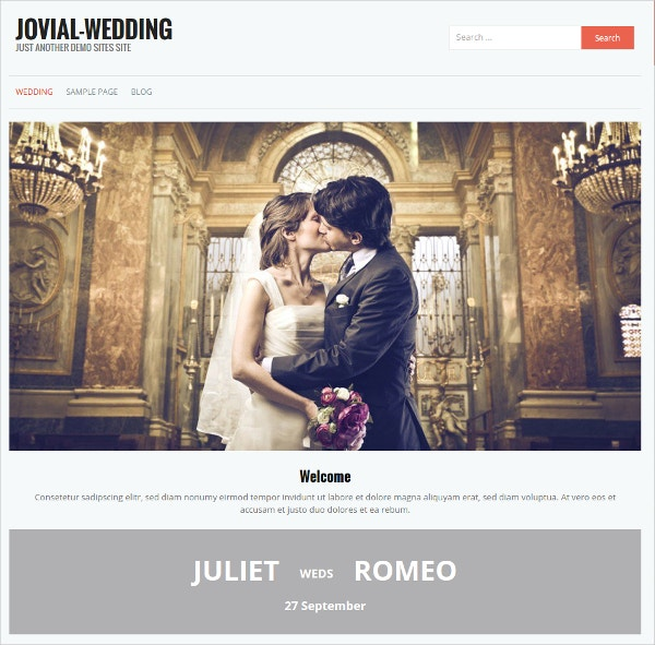 Elegant Wedding Free WordPress Website Theme