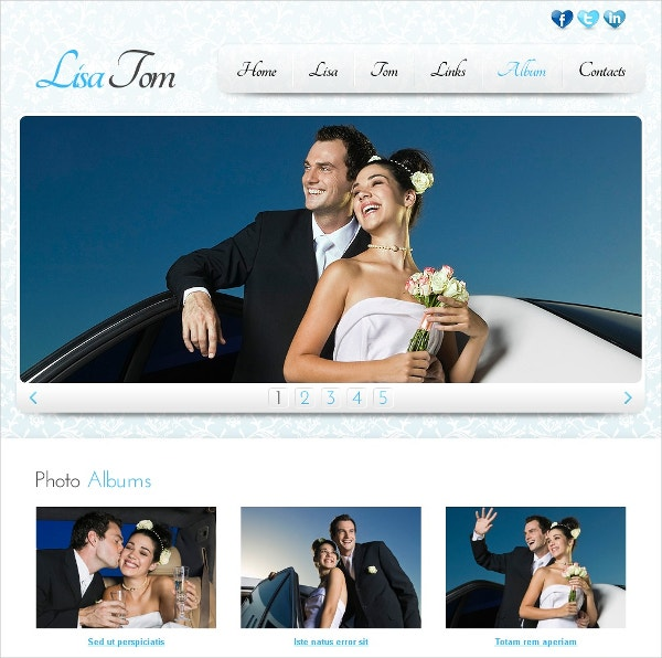 stylish free wedding website template