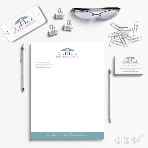 modern minimalism church letterhead template