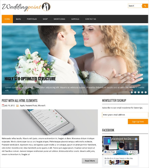 Free Wedding Point WordPress Website Theme