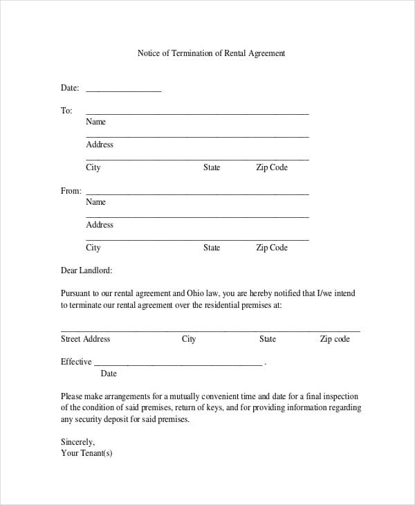 rental termination letter rental termination letter 27042017