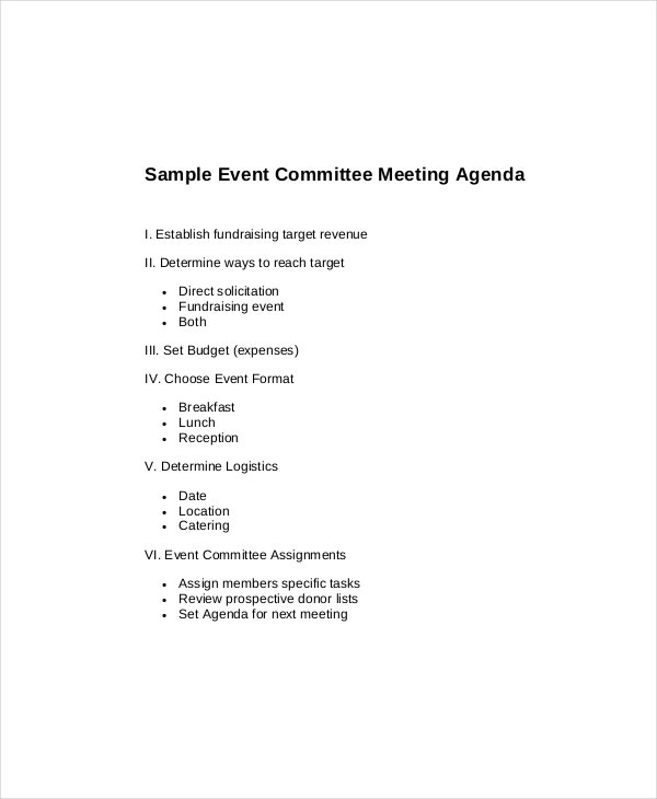 generic committee meeting agenda sample template