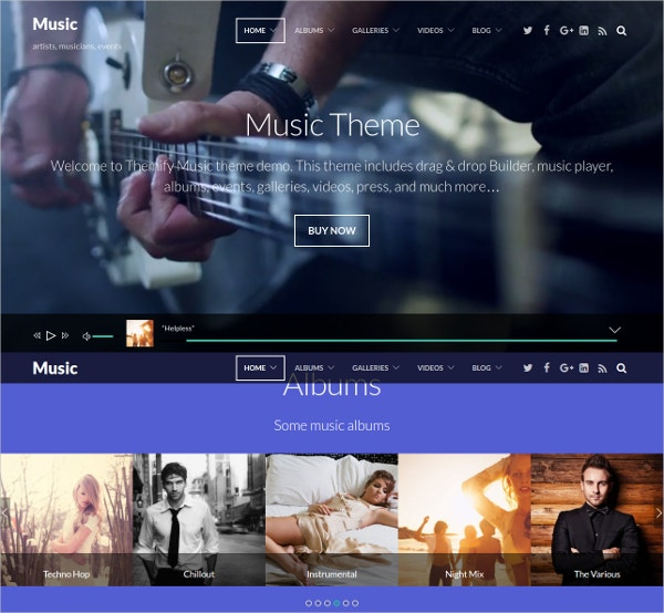music portfolio website theme