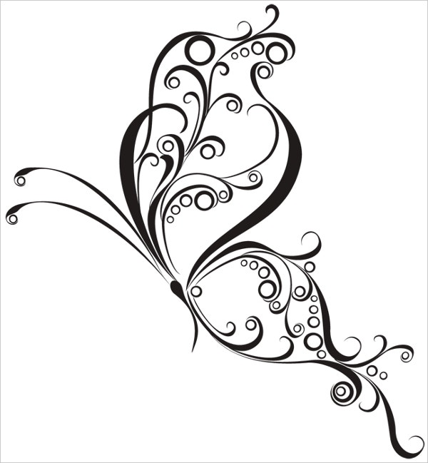 Nice Curly Butterfly Tattoo Design on White Background