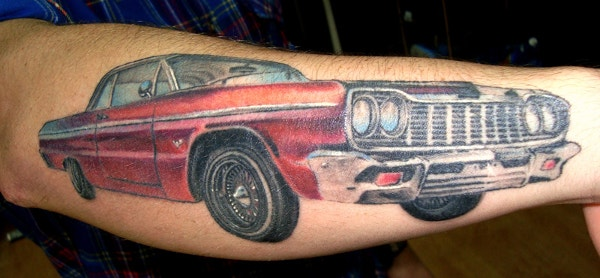 Red Car Automobile Tattoo On Sleeve