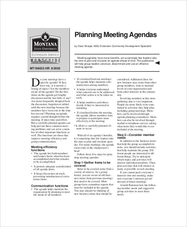 sample planning effective meeting agenda