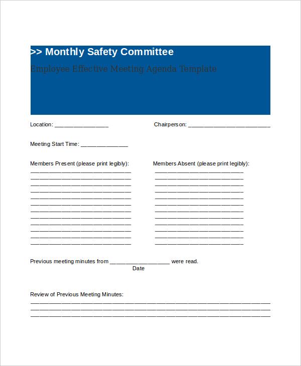 sample employee effective meeting agenda
