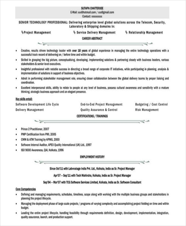 Executive Resume Pdf Cover Letter Template For Resume Samples For