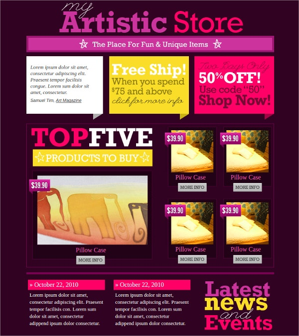 Artist Store HTML Website Template $14