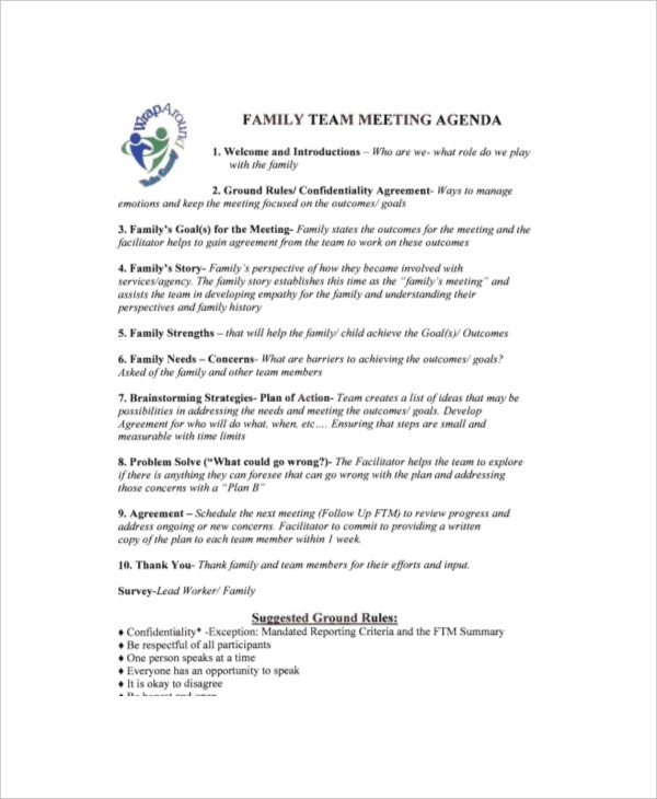 8 Family Meeting Agenda Templates Free Sample Example Format – Agenda Examples for Meetings