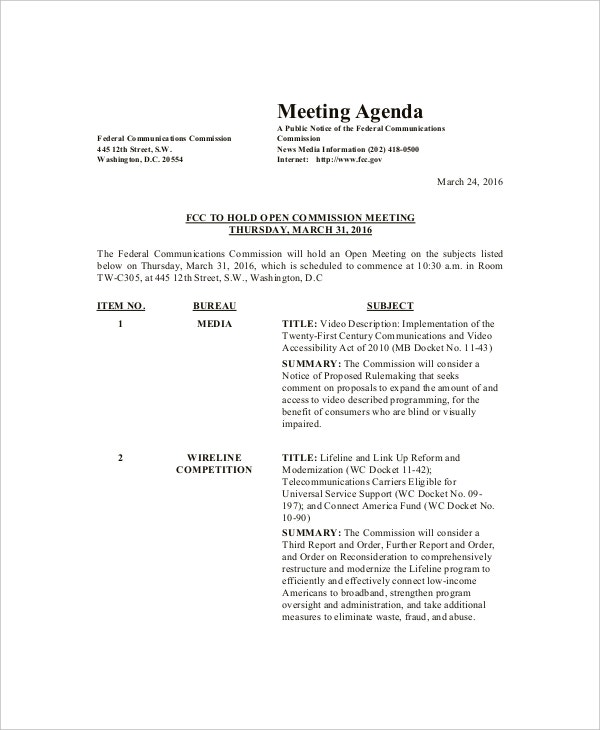 Sample Agenda Format For Meeting Free Meeting Agenda Template