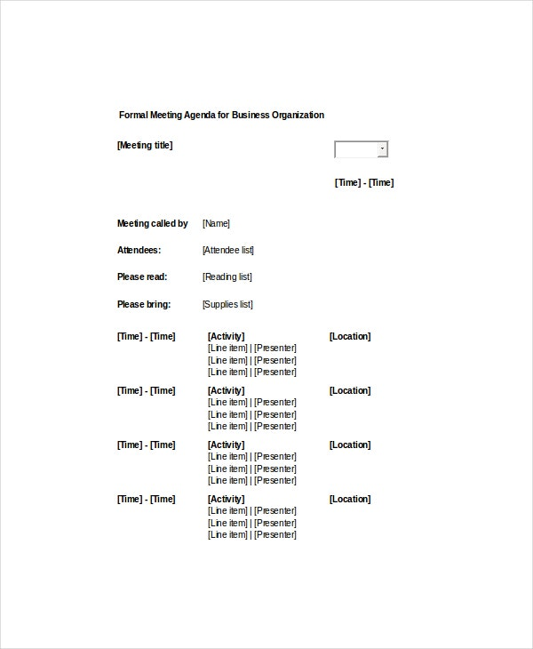Sample Formal Meeting Agenda Template For Business Organization  Agenda Meeting Example