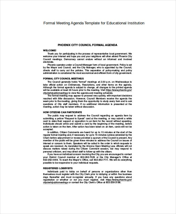 Example Formal Meeting Agenda Template For Educational Institution  Formal Meeting Agenda Template