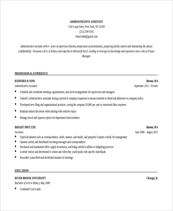 resume templates for executive assistant