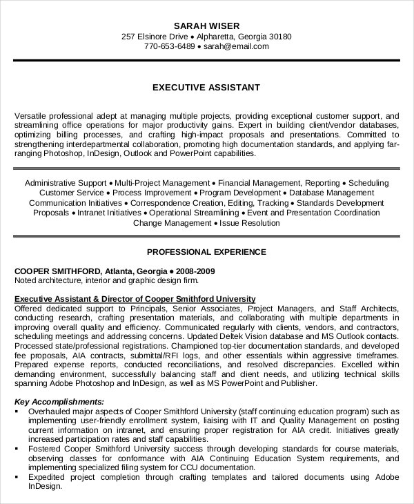 experienced resume pdf template of executive administrative assistant