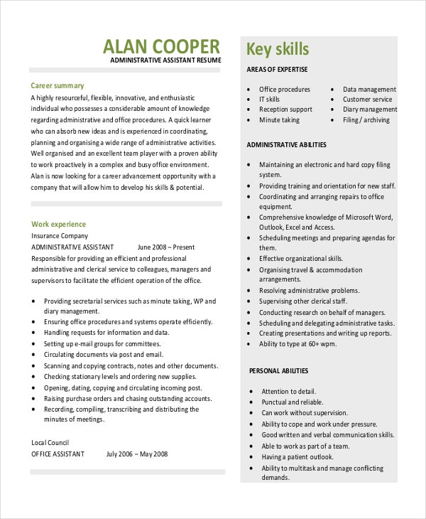 administrative assistant resume template download in pdf - Free Resumes Templates