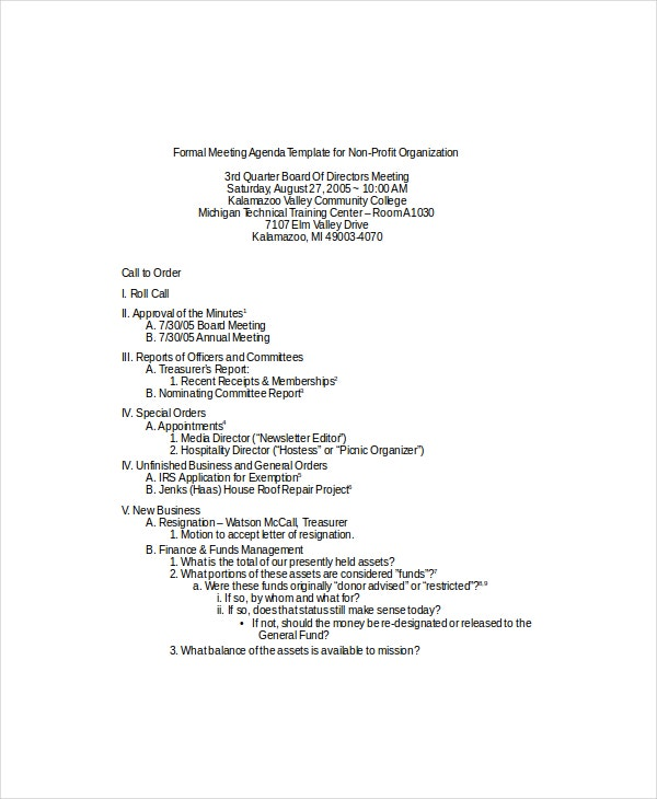 12 Formal Meeting Agenda Templates Free Sample Example Format – Sample of a Meeting Agenda