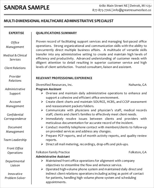 PDF Multi Dimensional Health Care Executive Administrative Resume