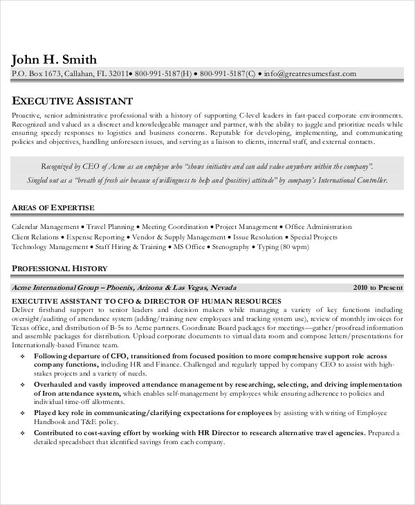 Best Resume Template Executive Assistant