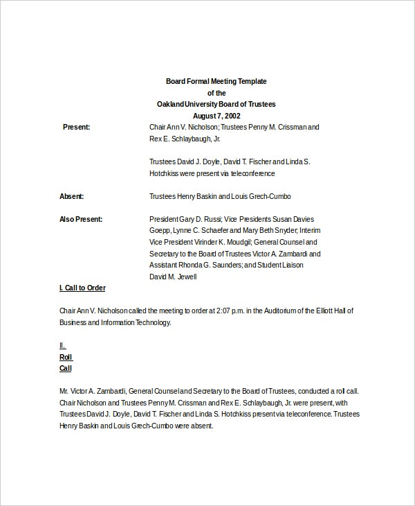 Board Formal Meeting Sample  Formal Agenda Format