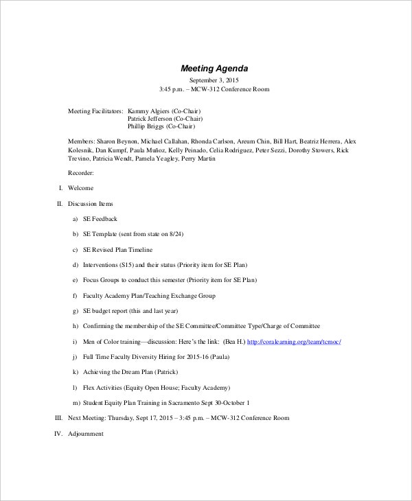 Formal Meeting Agenda Templates  Free Sample Example Format