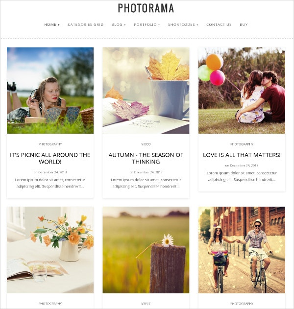 Photography WordPress Blog Website Theme $49