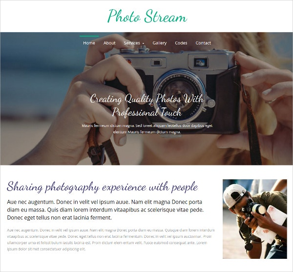 Photo Stream Bootstrap Website Template