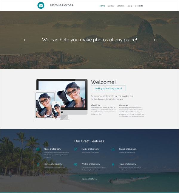 Photographer Portfolio Website Template $199