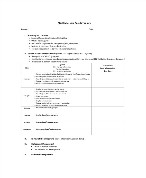 10 Management Meeting Agenda Templates Free Sample Example – Agenda Template for a Meeting