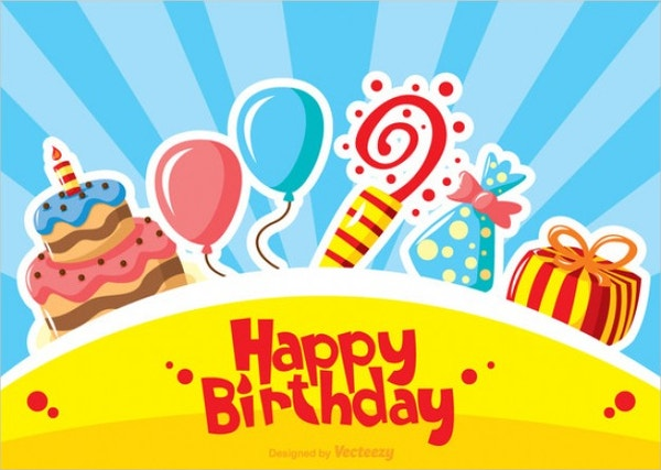 vector happy birthday card template