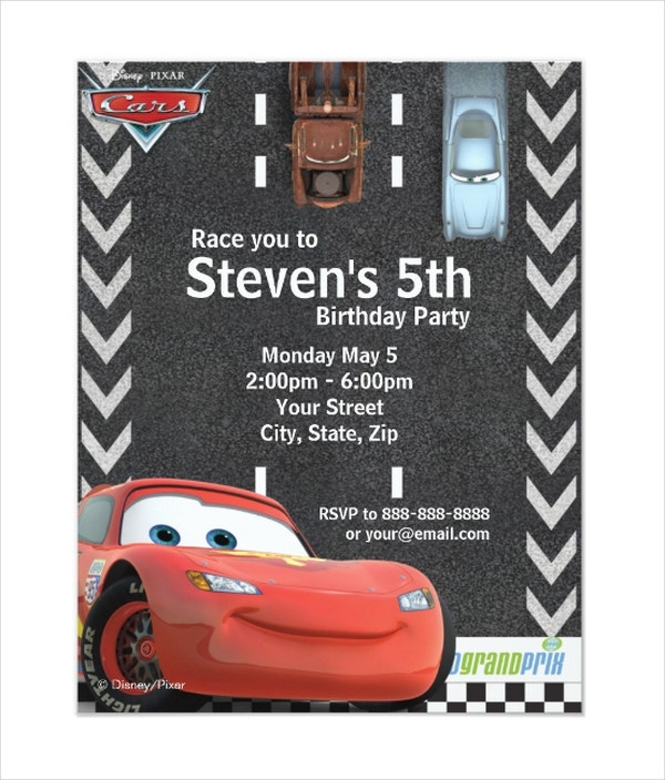 Cars Birthday Invitation Card Template