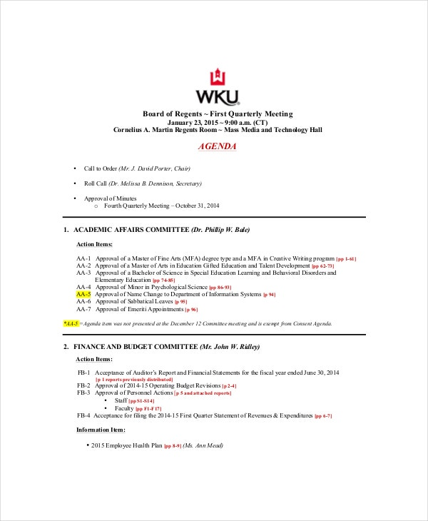 10 Management Meeting Agenda Templates Free Sample Example – Management Meeting Agenda Template