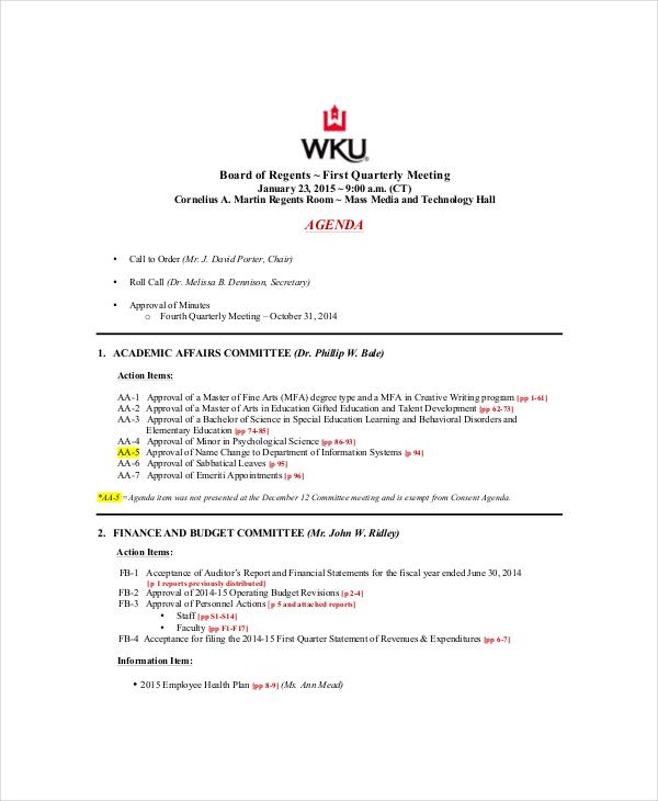 10 management meeting agenda templates free sample example