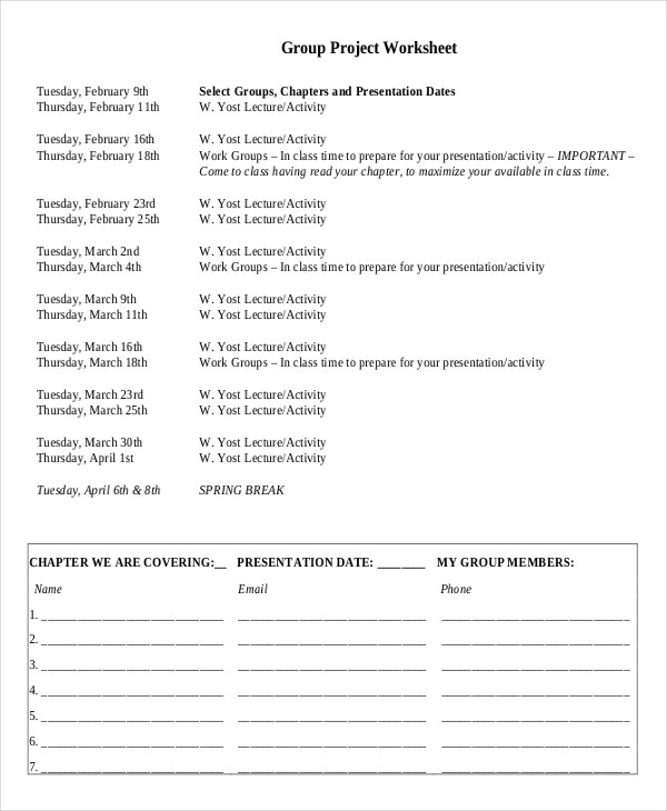 Group Project Worksheet Template