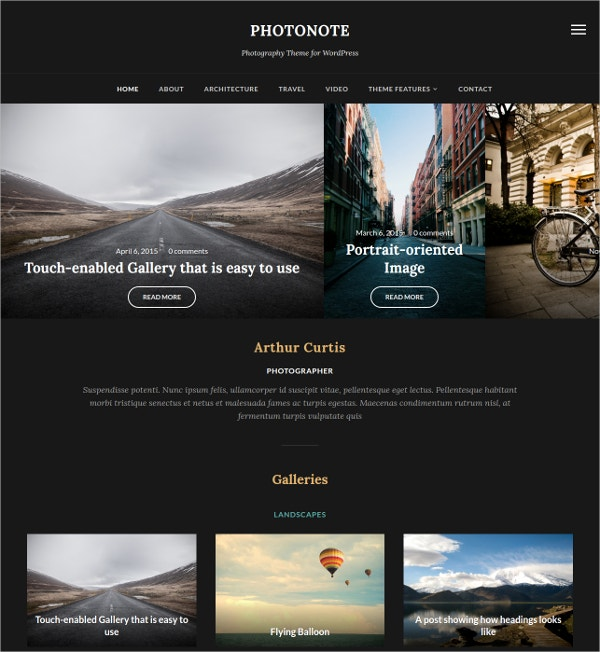 Beautiful  Photo WordPress Website Theme $69