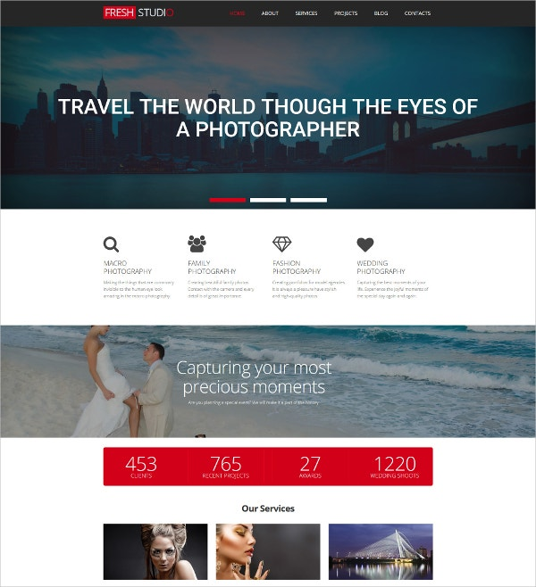 Premium Photography Website Template $199
