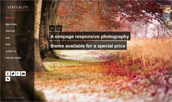 One Page Photography Website Theme $39