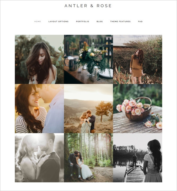 Minimal Photography WordPress Website Theme $45