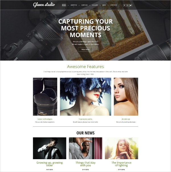 Creative Photo Gallery Website Template $199