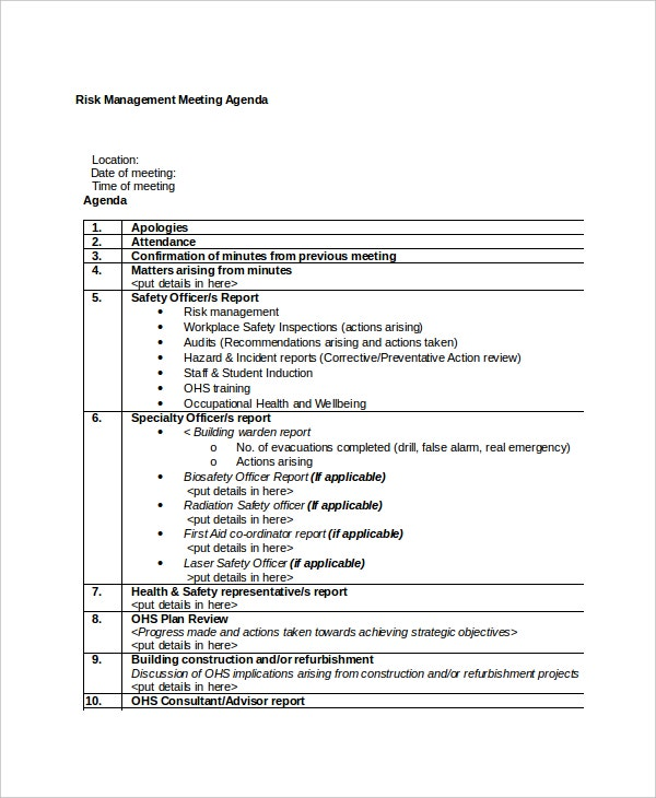 Risk Management Meeting Agenda Sample  Meeting Outline Template