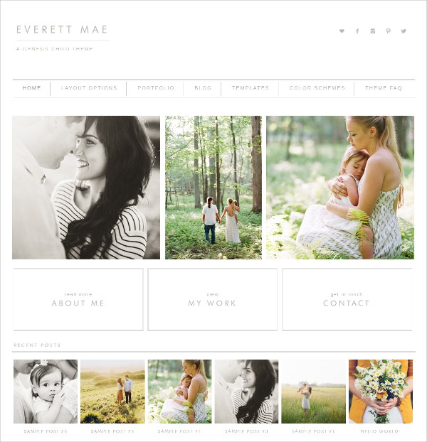 Simple Photography Website Theme $50