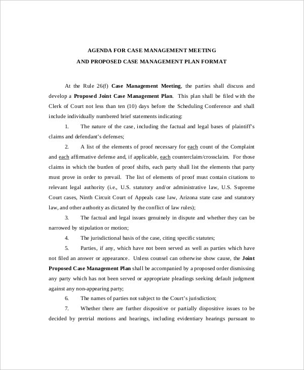 Agenda For Civil Case Management Meeting Sample  Management Meeting Agenda Template