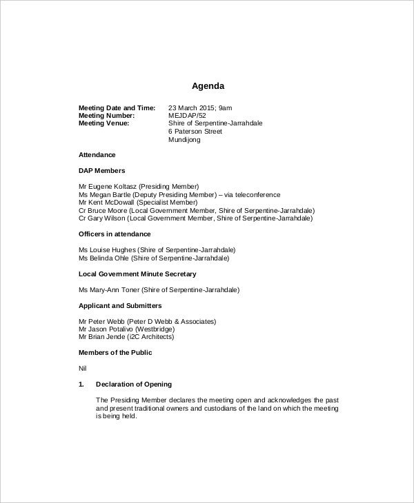 Management Meeting Agenda Templates  Free Sample Example