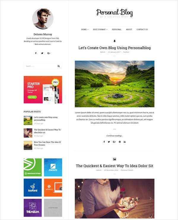 free wordpress blog html5 theme