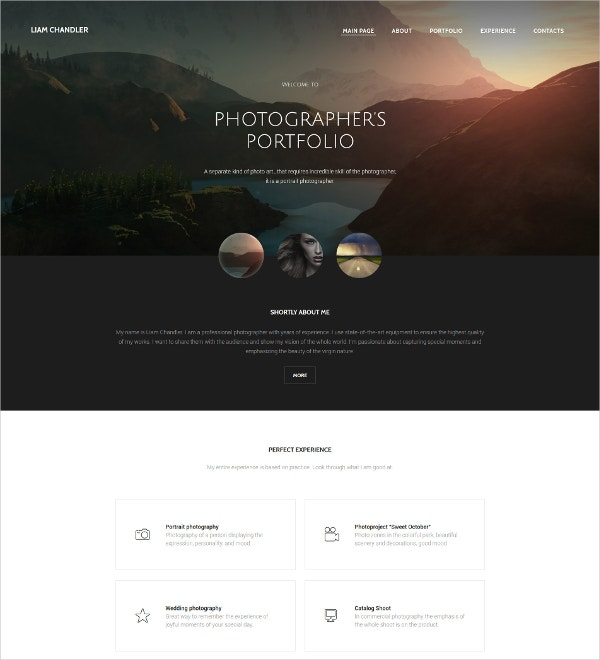 Stunning Photographer Portfolio Website Template $69