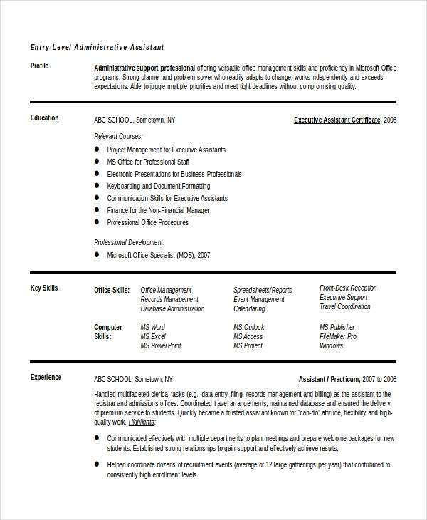 Entry Level Administrative Assistant Resume Templates Free