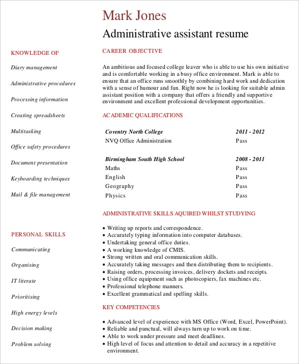 administrative assistant resume template documents download
