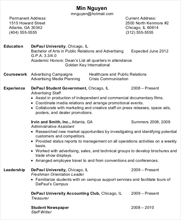 resume samples for entry level