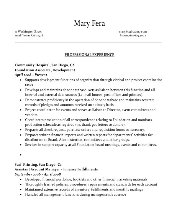 Free Download Administrative Assistant Sample Resume PDF  Sample Office Assistant Resume