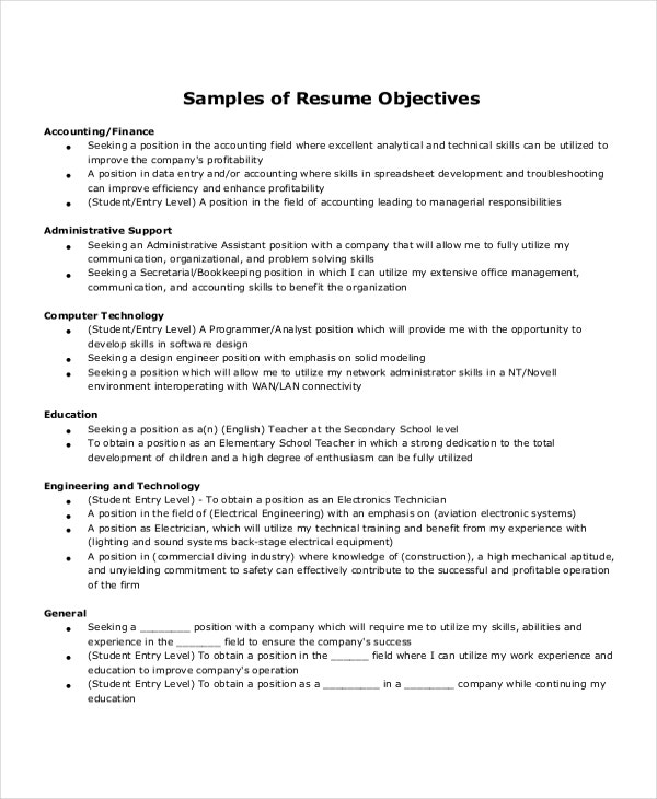 entry level resume samples free download objectives administrative assistant student templates
